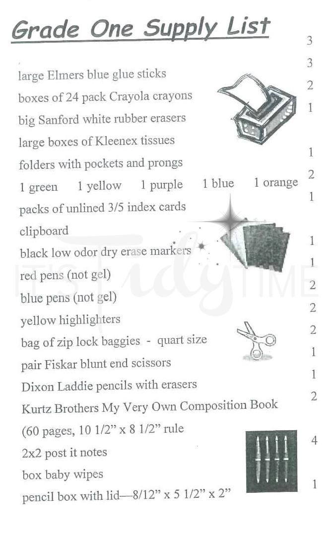 fricano primary supply list