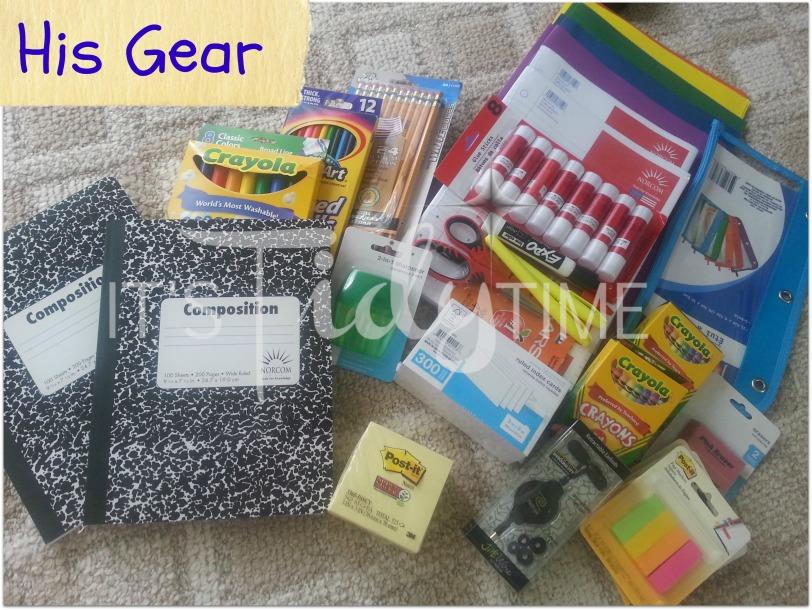 his school supplies