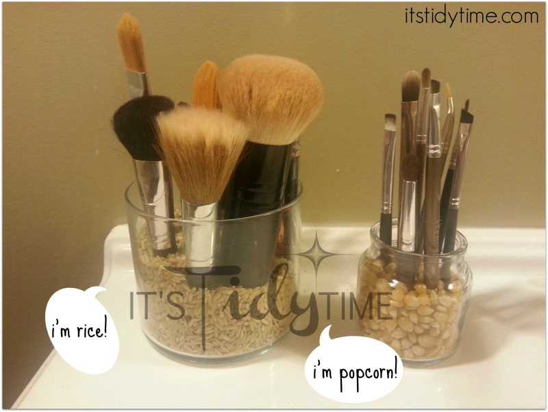 I'm using pantry items to hold up my makeup brushes.