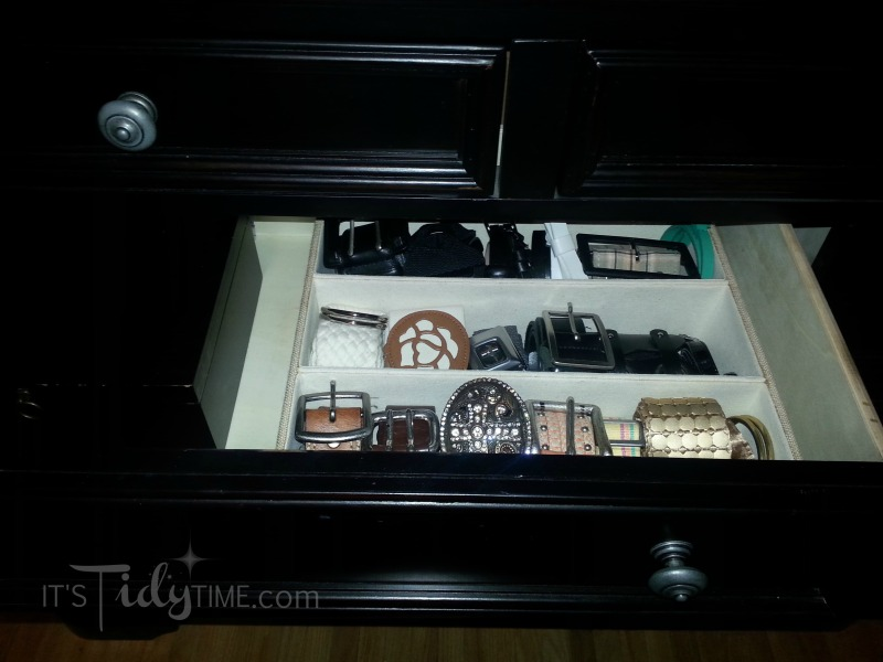belts organized in drawer