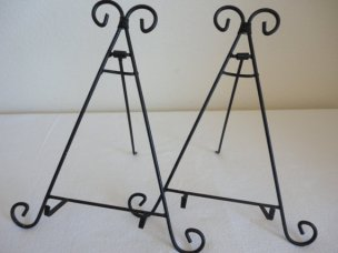 Artistic Pair of Black Iron Easels / Book Holder