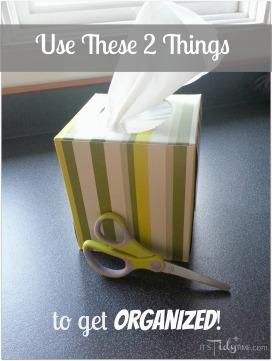 organize with tissue box