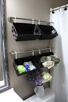 baskets above toilet