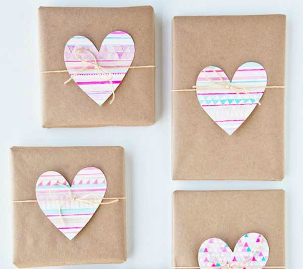 brown paper and hearts