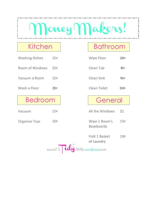 Kid Chore List - Money Makers-page-001