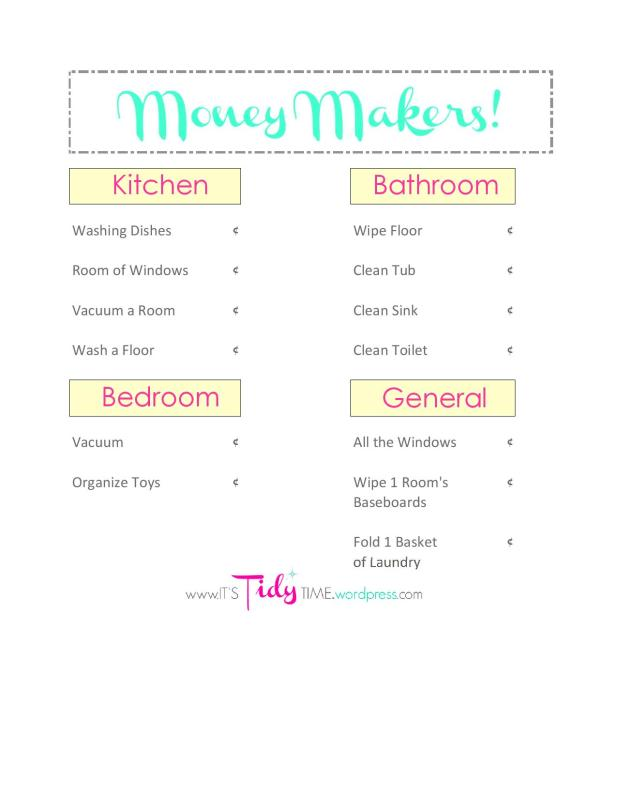 Kids Money Makers List - BLANK money-page-001